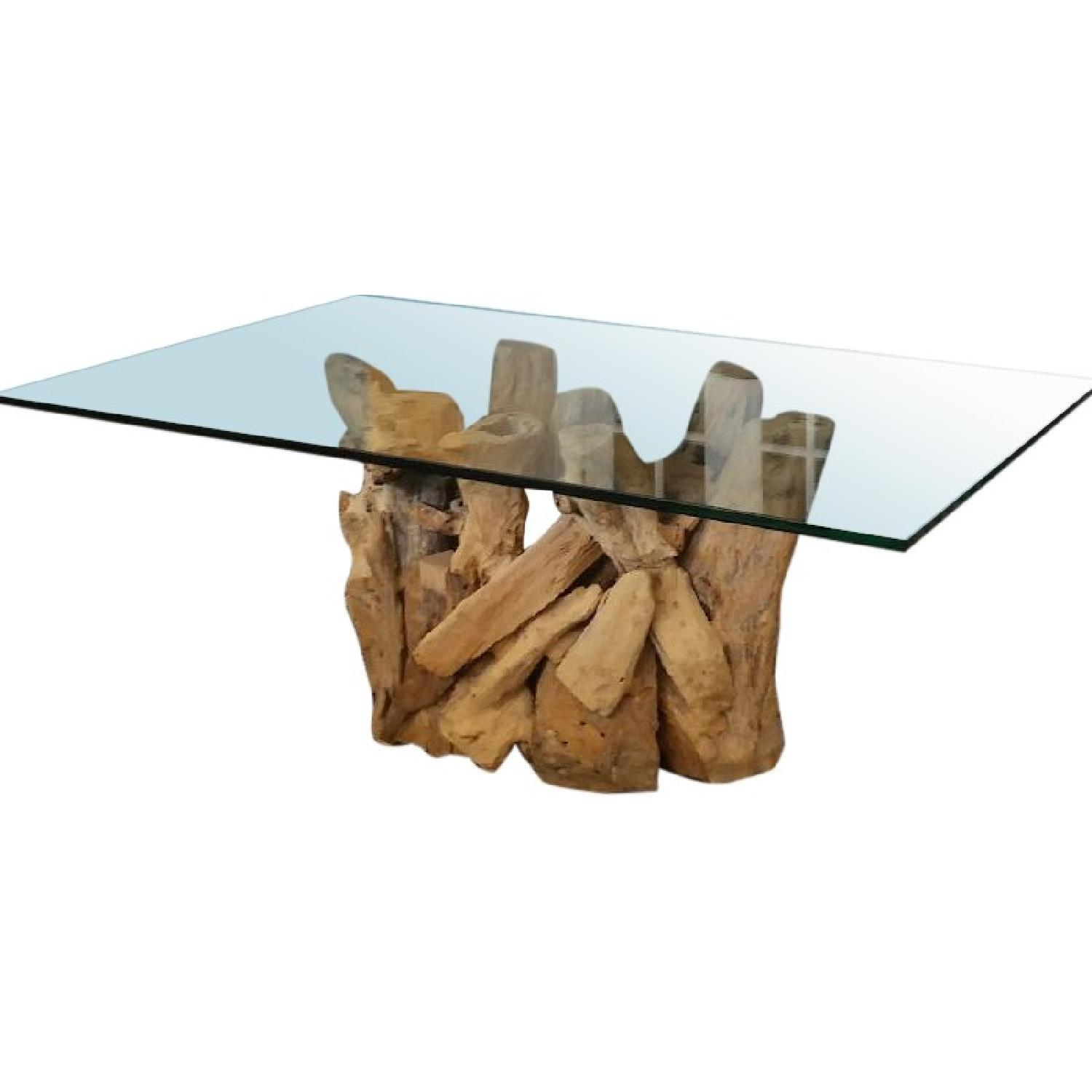 crate barrel driftwood base glass top coffee table