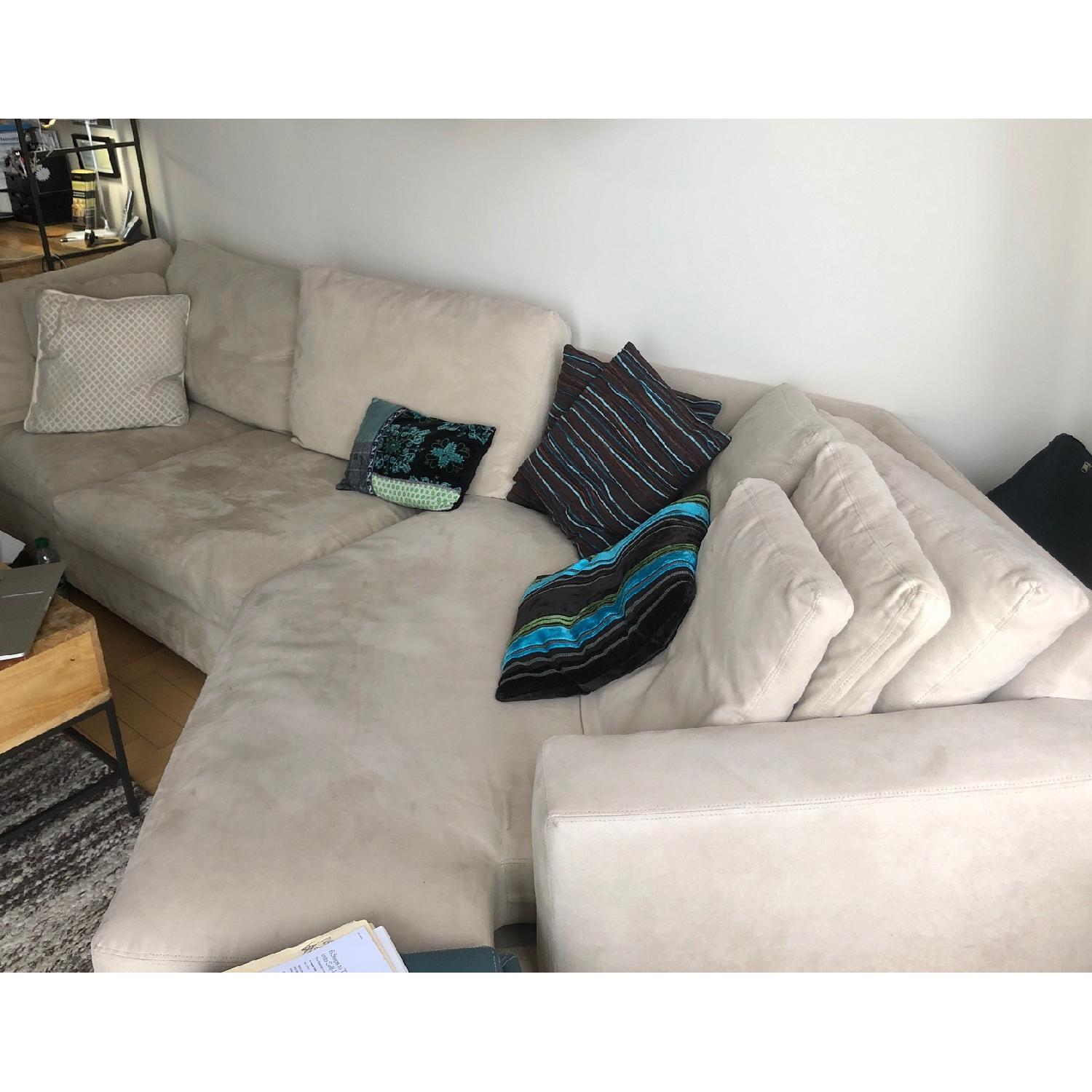 room board 2 piece sectional sofa w angled chaise
