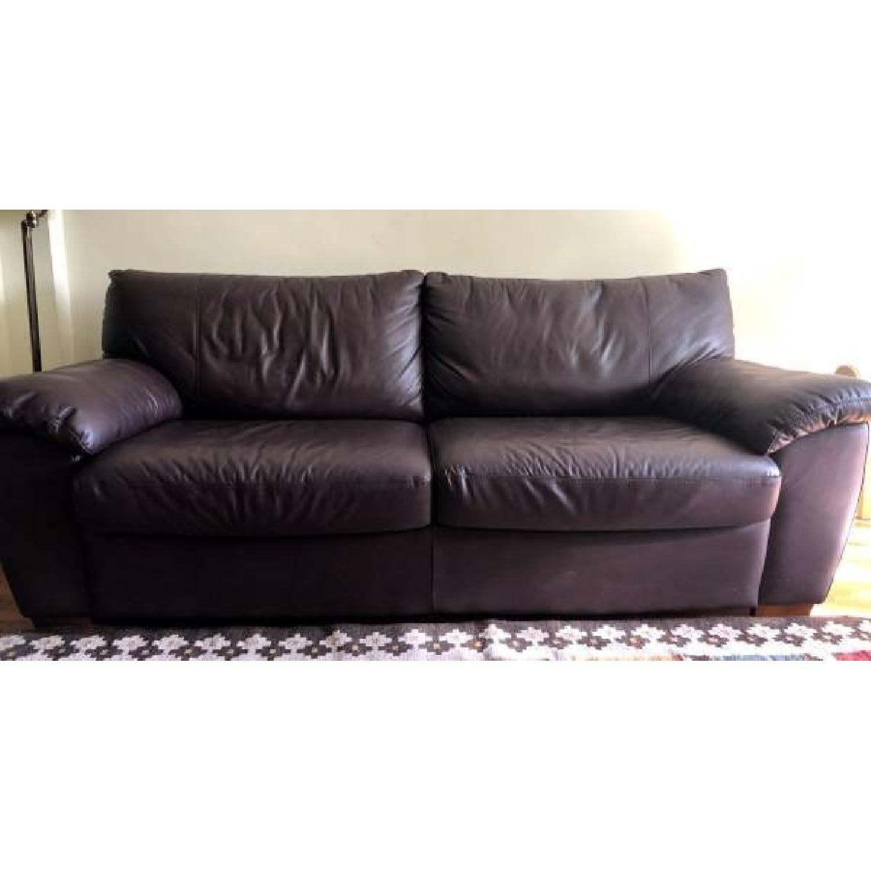 Ikea Vreta Brown Leather Sleeper Sofa Aptdeco