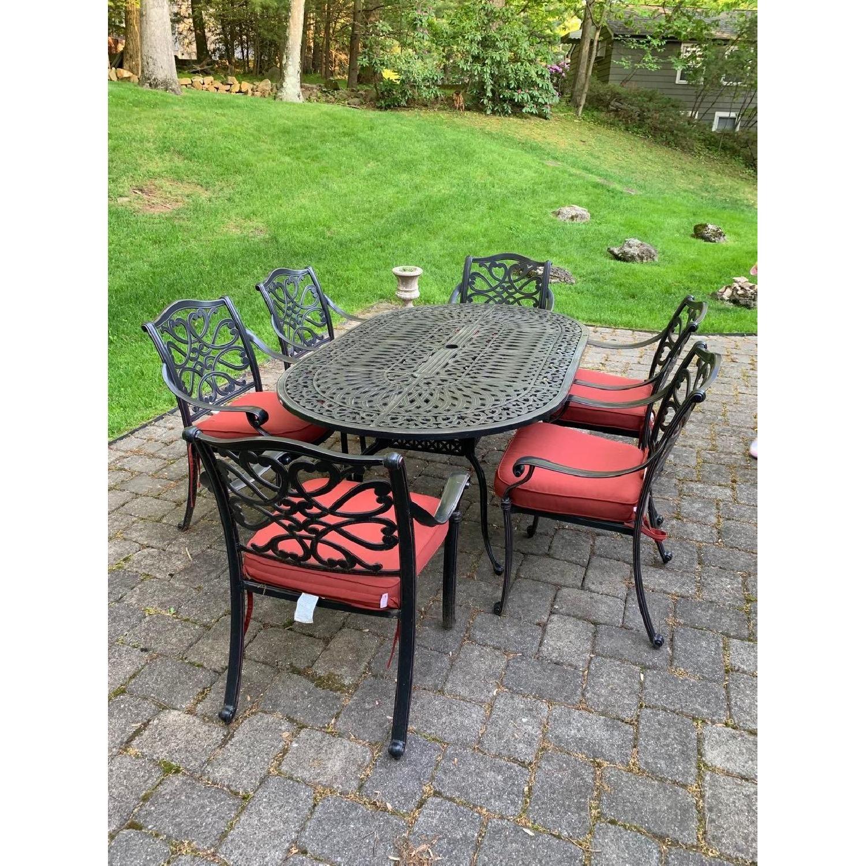 fortunoff 7 piece outdoor cast aluminum oval dining set