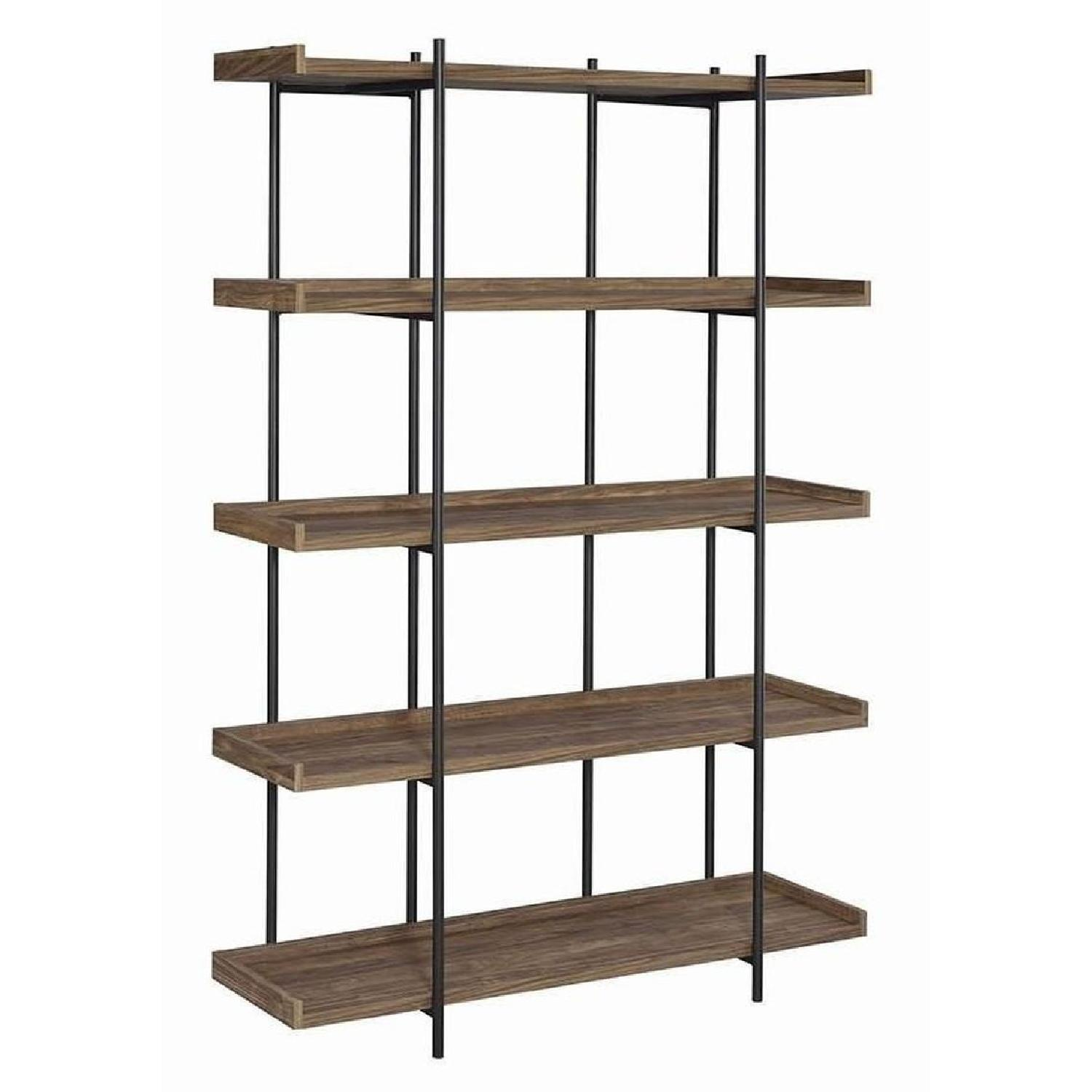 Industrial Style 5 Shelves Bookcase In Aged Walnut Finish