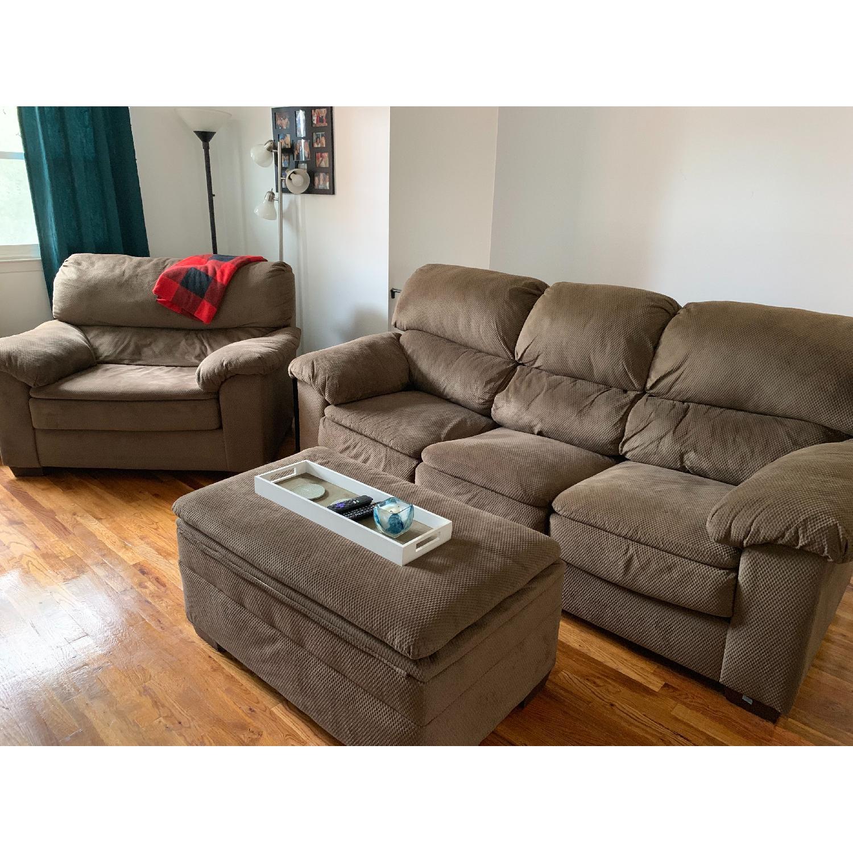 Brown 3 Seater Sofa Oversized Chair Storage Ottoman