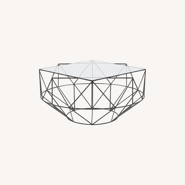 west elm glass metal geometric coffee table