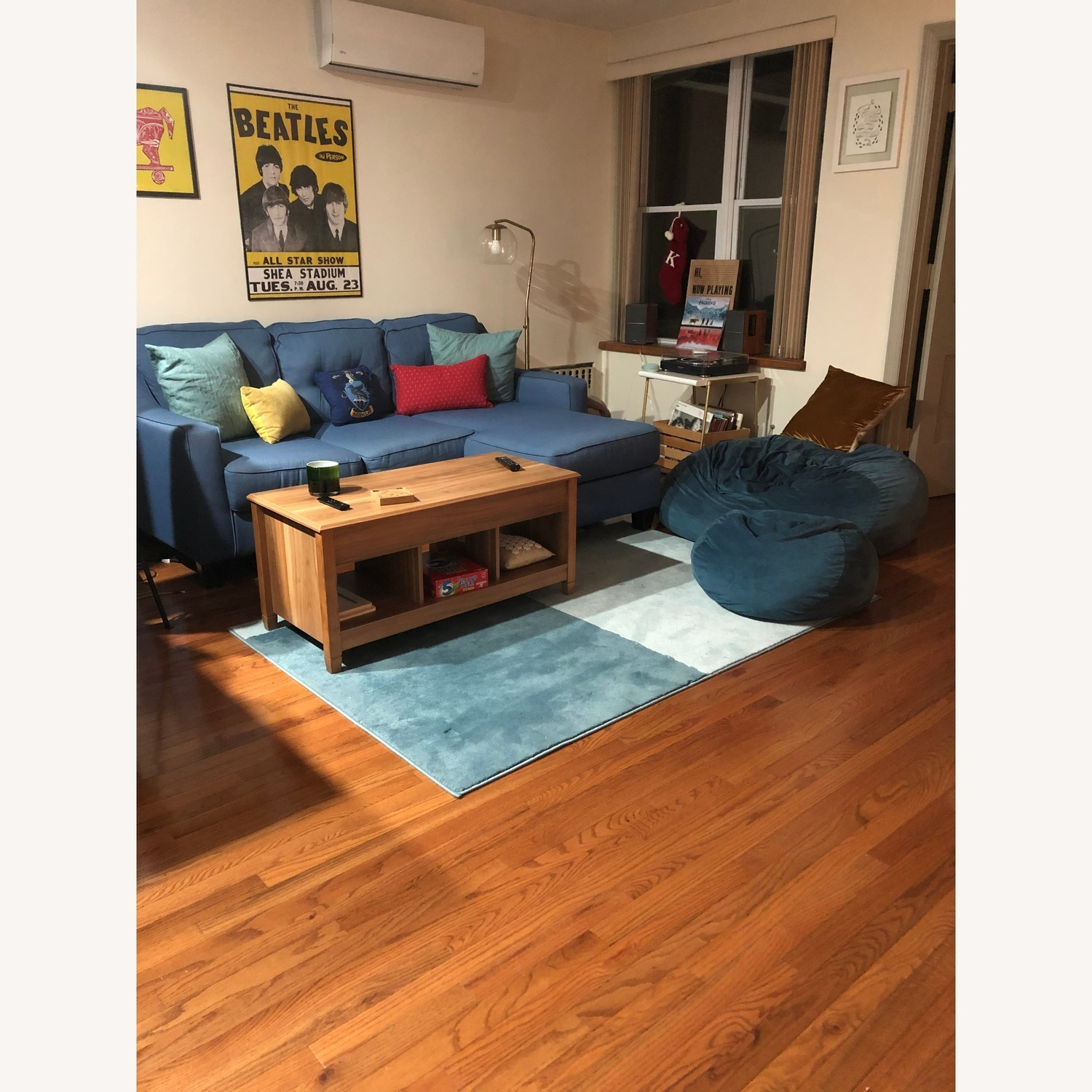 ashley blue sectional sofa w chaise
