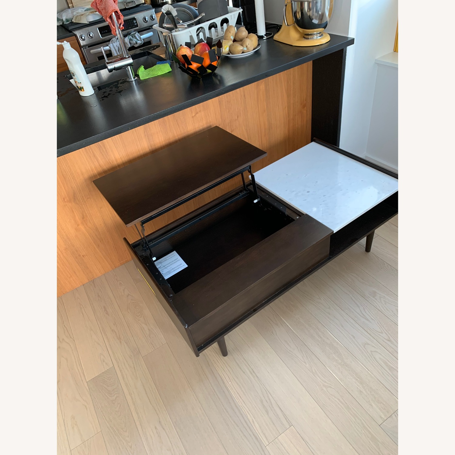 west elm mid century pop up storage coffee table