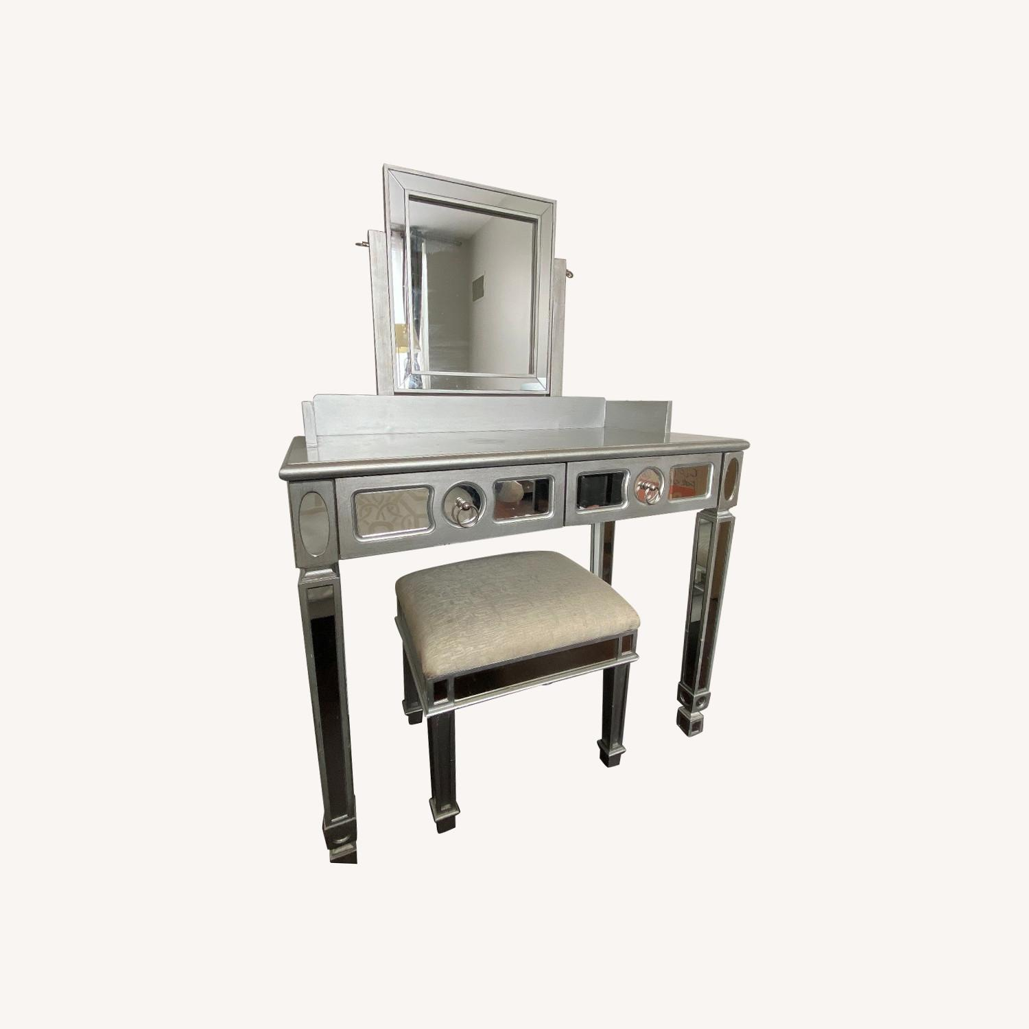 Pier 1 Hayworth Silver Mirror Vanity And Bench Aptdeco