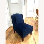 Navy Blue Velvet Accent Chair With Wooden Legs Aptdeco