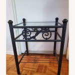Black Iron Bedside Table With A Glass Top Aptdeco