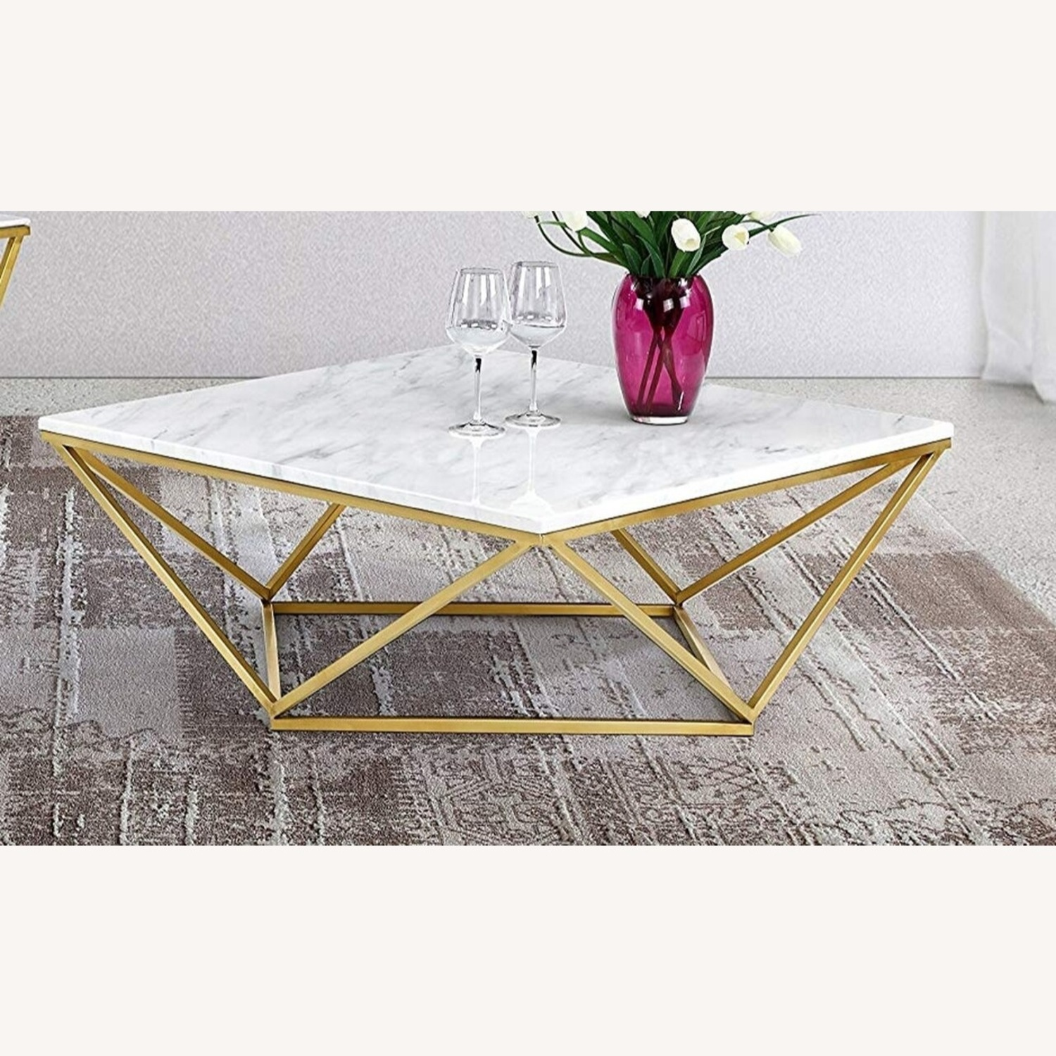 modern square coffee table w faux marble