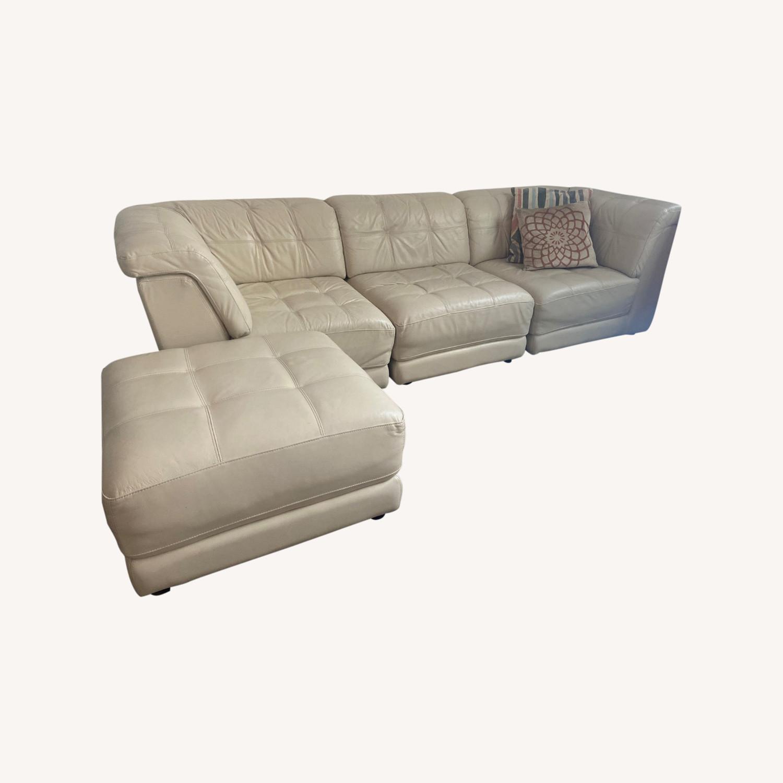 macy s leather sectional sofa w ottoman