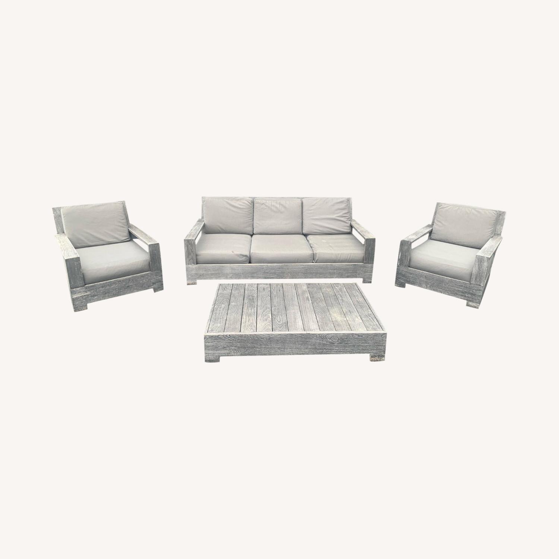 restoration hardware teak wood outdoor furniture set