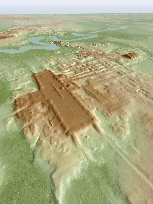 Imagen 3D del yacimiento maya Aguada Fénix. imagen de Takeshi Inomata