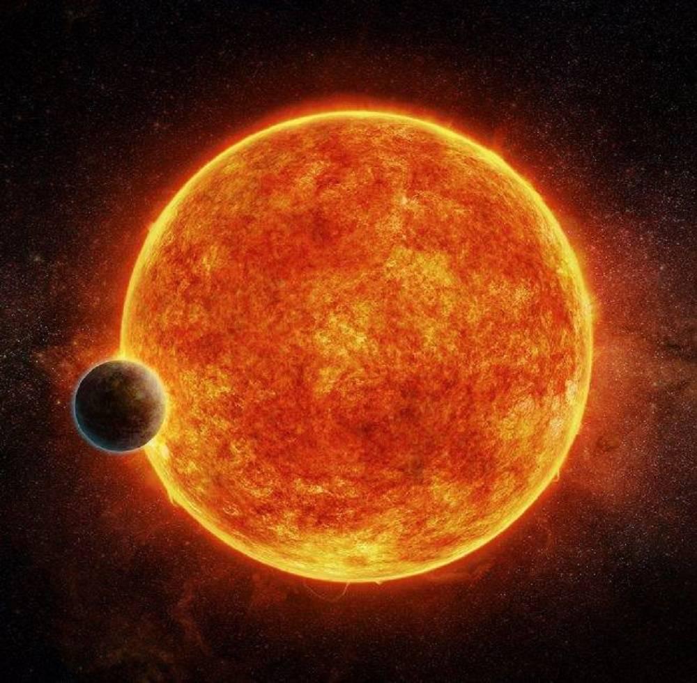 Concepción artística de una 'supertierra' orbitando una estrella enana roja.
