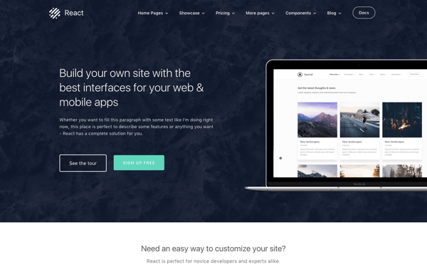 React Bootstrap 4 Business Theme