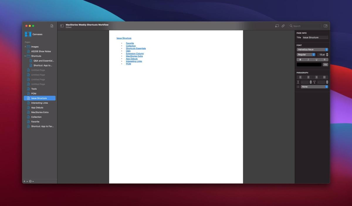 Selecting a text page lets you edit it in Coppice's editor.