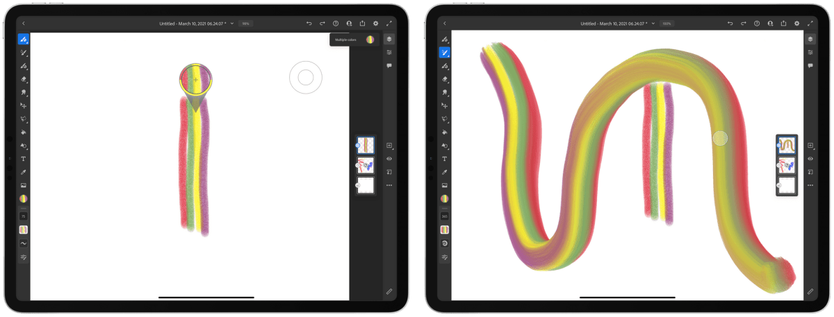 With the Touch Shortcut button, I selected four colors created with the pencil brush that I could then paint with using an oil brush.