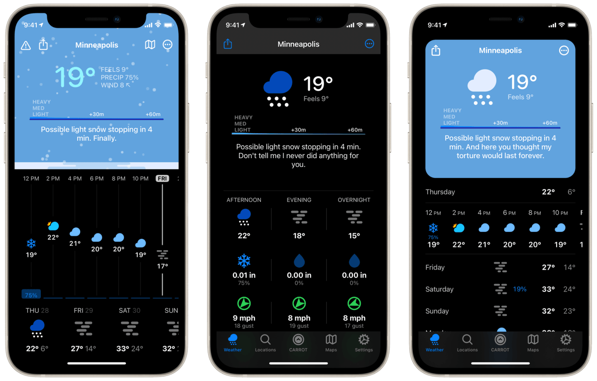 Three different interface styles in CARROT Weather 5