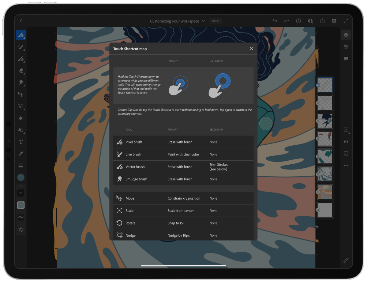 Fresco includes a helpful guide to the many features available via the Touch Shortcut.