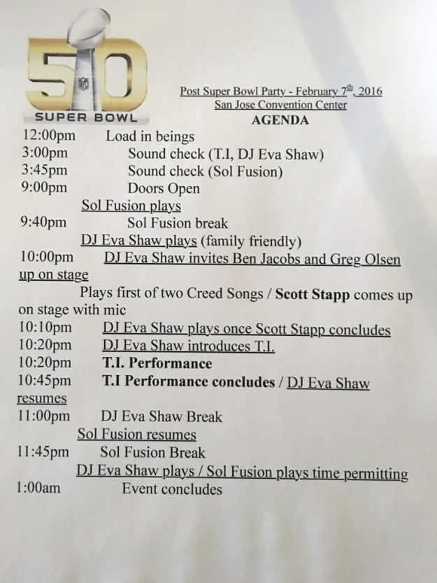 The agenda for the Post Super Bowl party.
