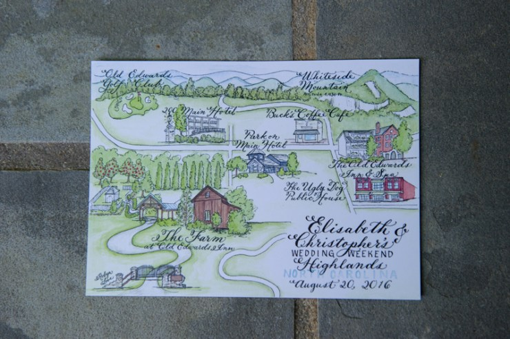 Hand drawn illustration wedding map