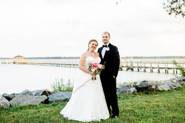 Bride and groom during waterfront wedding.