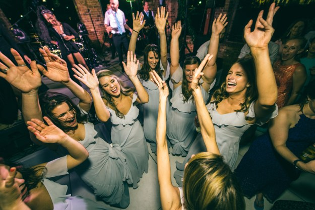 bridesmaids dancing during wedding reception