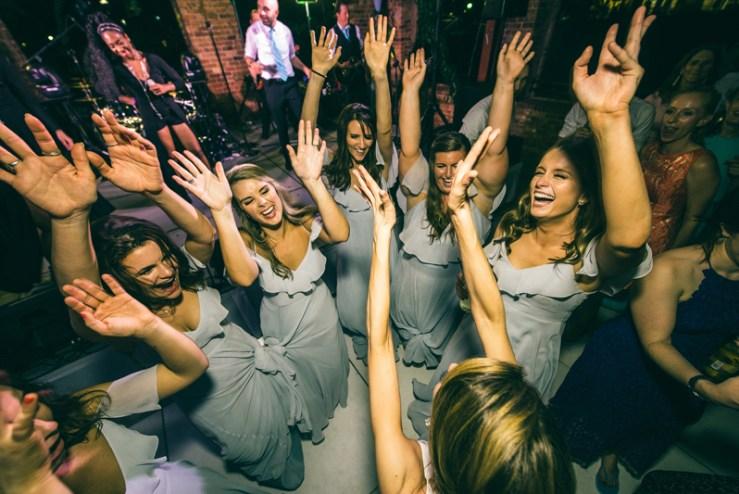 bridesmaids dancing during wedding reception