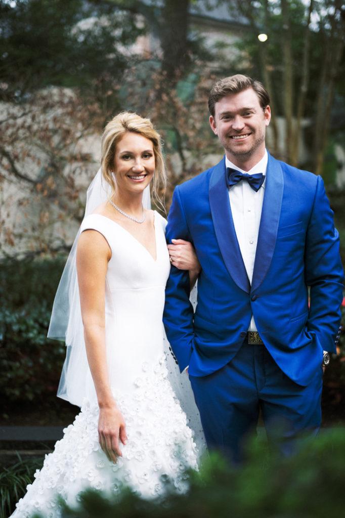 Bride and groom portrait at outdoor wedding