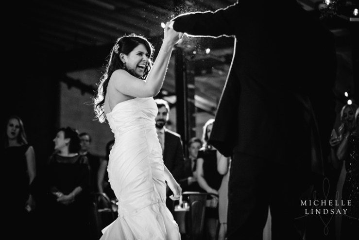 Bride and groom dancing at wedding to Modern Luxe band.