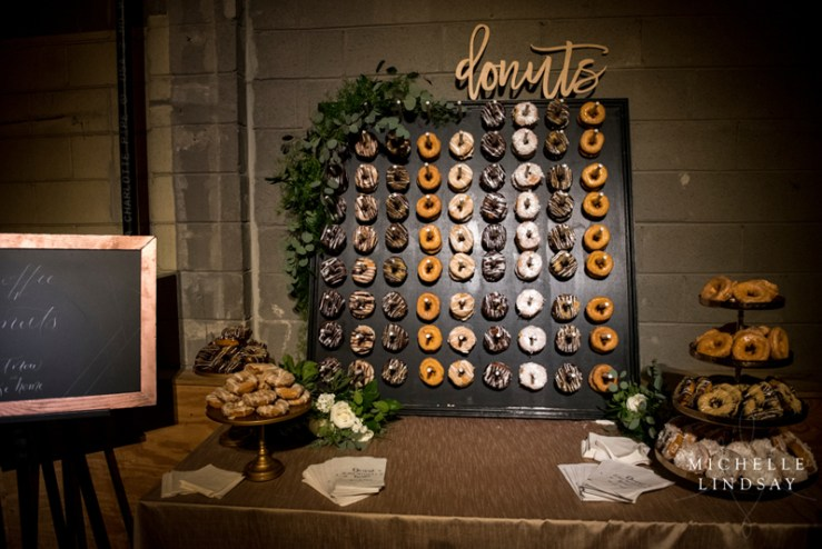 Doughnut wall at DC wedding reception.