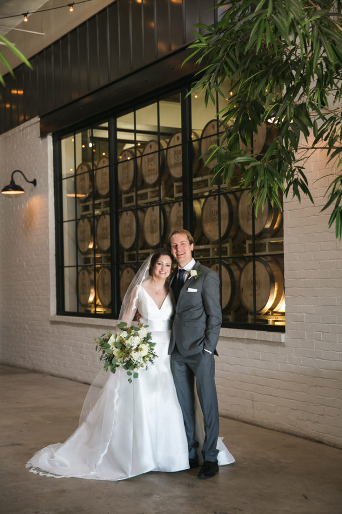 Bride and groom at The Stave Room for Atlanta wedding.