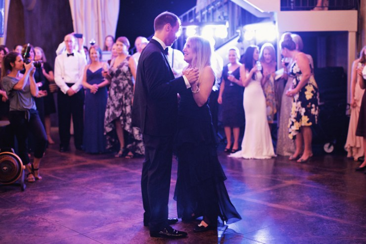 Mother and son dancing to Loose Chain at wedding reception.