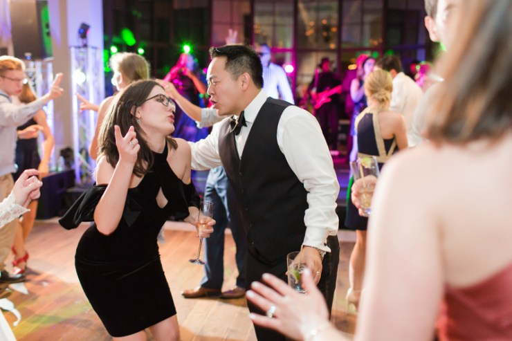 Wedding reception guests dancing during Kiawah Island Club wedding.