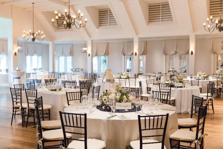 Kiawah Island Club ballroom decorated for wedding reception.