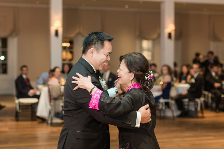 Mother son dance during wedding reception at Kiawah Island Club.
