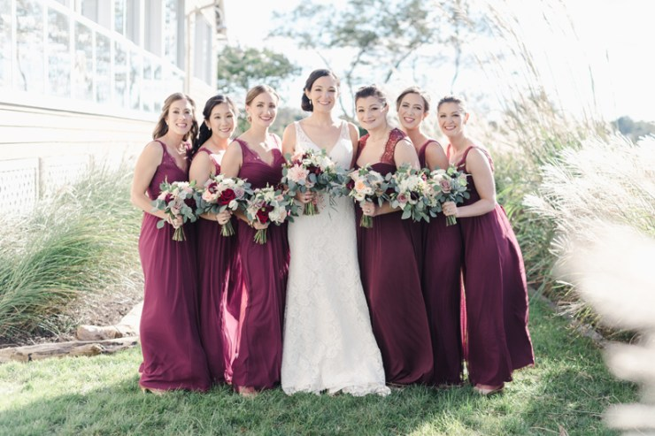 Bride and bridesmaids at Bride and groom dancing The Hora at Jewish wedding at Chesapeake Bay Beach Club wedding.