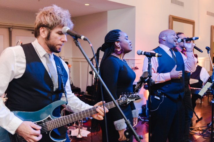 Broadsound band performing at Bride and groom dancing The Hora at Jewish wedding at Chesapeake Bay Beach Club wedding reception.