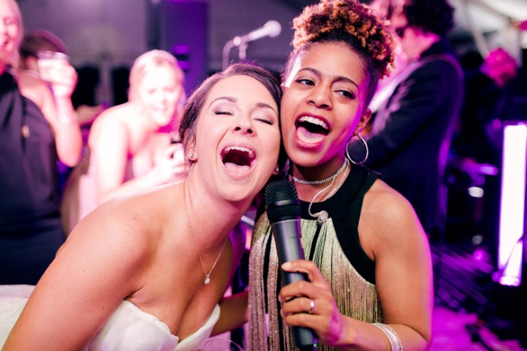 Bride on stage with Night Years wedding band