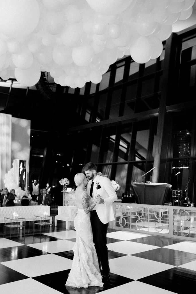 Bride and groom's first dance at their Country Music Hall of Fame wedding in Nashville, TN.