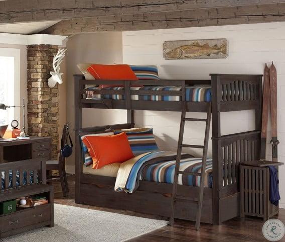 highlands harper espresso full over full bunk bed with trundle