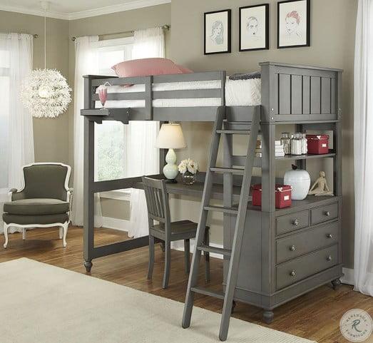lake house stone youth loft bedroom set with desk