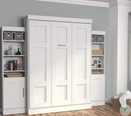 edge white queen wall bed with two 21 storage units and doors