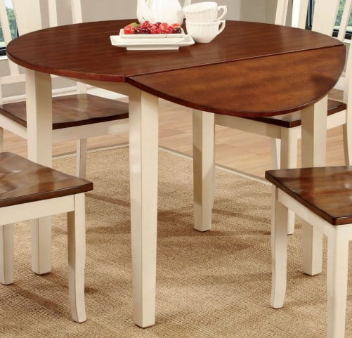 dover ii vintage white and cherry drop leaf extendable round dining table