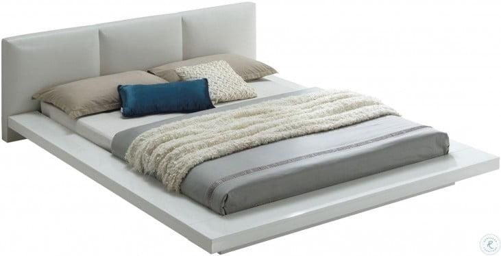 christie high gloss white cal king upholstered platform bed