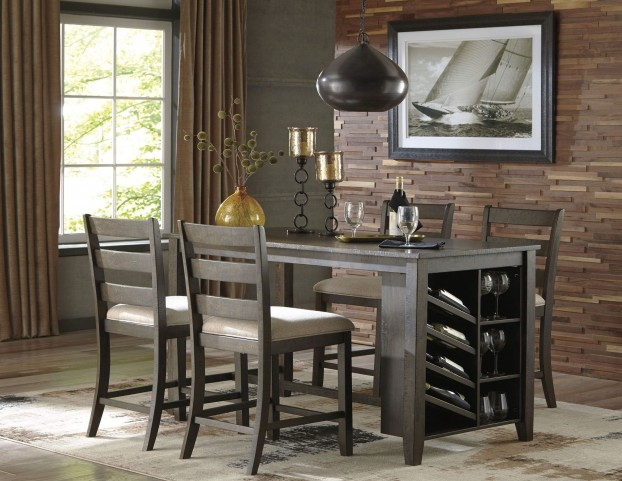 Rokane Light Brown Rectangular Counter Height Dining Room