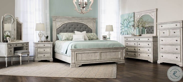 highland park distressed rustic ivory panel bedroom set