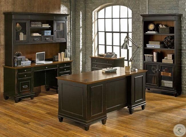 hartford distressed black home office set