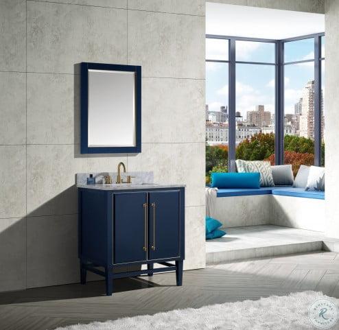 mason navy blue 24 mirror with gold trim