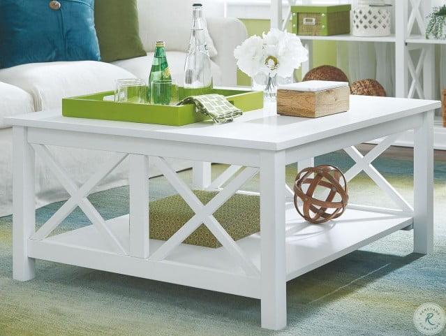 hampton pure white square coffee table