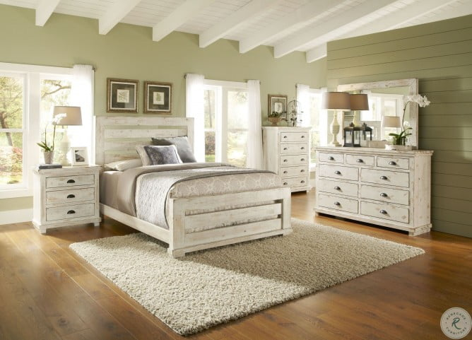 willow distressed white slat bedroom set